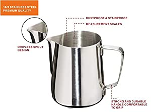 Joytata Milk Frothing Pitcher Stainless Steel Cup with Double Measurement Scales Perfect for Latte Art,Espresso Maker,Cappuccino Maker-18/8 Stainless Steel Milk Frother Pitcher Steaming Pitcher
