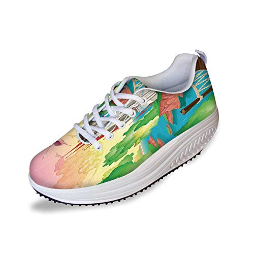 Children Stylish Shake Shoes,Princess Castle Above Wooden Bridge and Phoenix Bird Fairy Dream World Girls Image for Women,10