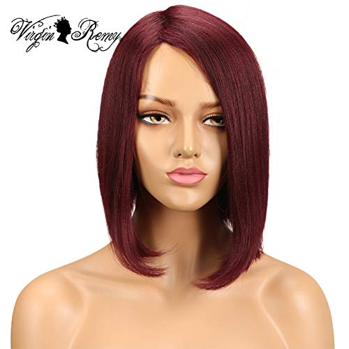 QVR 99J L Part None Lace Front Wigs Human Hair Wigs for Black Women Machine Made Bob Wigs Side Part 10 inch Wigs on Sale for Black Women Wine Red -
