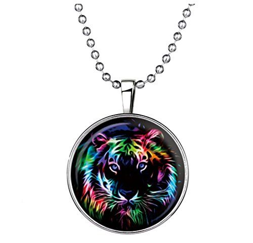 Winter's Secret Europe Style Color Noctilucent Necklace New Glow Strange Tiger Pendant of Circle Shape