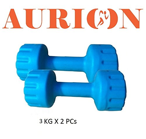 Aurion PVC3 Plastic Dumbbell Set, 6Kg (Blue/Green)