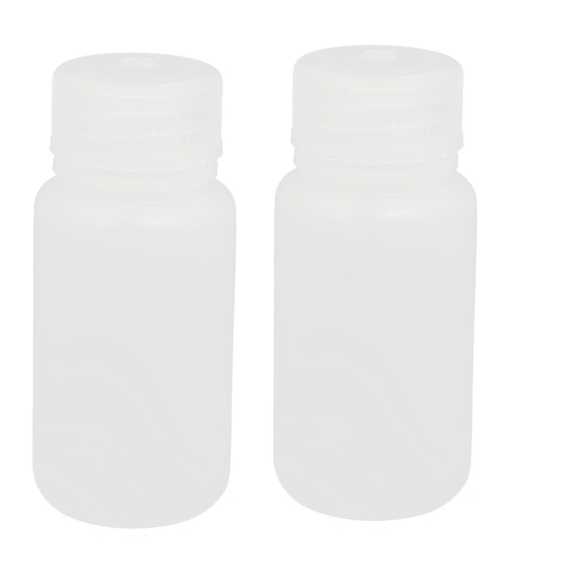 sourcingmap 2pcs 60ml Plastic Round Laboratory Reagent Bottle Sample Thicken Bottle White