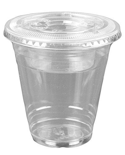 - 12oz Clear Plastic Cups w/ 4oz Parfait Insert & Lids (3-piece) Dessert Cups (100 Count, Flat Lids - No Hole)