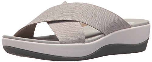 (CLARKS Women's Arla Elin Sandal, Sand Heathered Textile, 8 Medium US)
