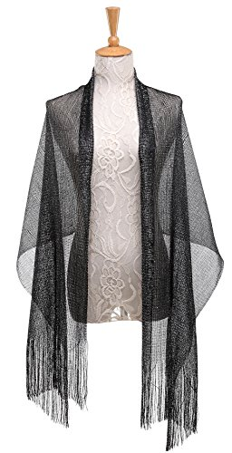 Art Jacket Deco (Cizoe 1920s Gatsby Weddings Evening Scarfs,Sheer Glitter Sparkle Piano Shawl Wrap (Metallic Black))