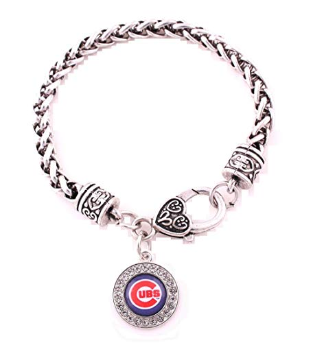 - Q Gold Chicago Cubs Zinc Alloy Bracelet with Round Rhinestone Chicago Cubs Charm 7 inch