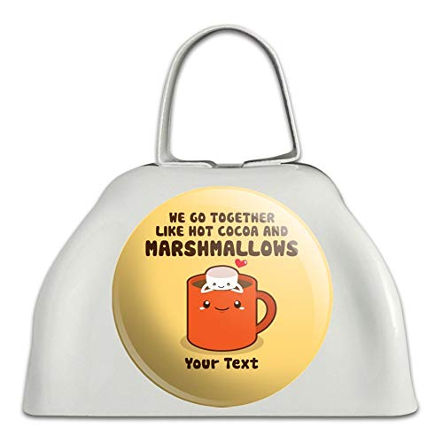 Personalized Custom 1 Line Hot Cocoa and Marshmallows Best Friends White Metal Cowbell Cow Bell Instrument