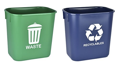 (Acrimet Wastebasket for Recycling and Waste 13QT (2 Units) (Green and Blue))