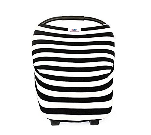 Striped Car Seat Cover - Baby Car Seat Cover- Breastfeeding Cover Nursing - High Chair - Shopping Cart - Baby Blanket Boys and Girls - Infinity Scarf - All-in-One Perfect Baby Shower Gift (Black&White Stripes)