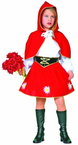 RED RIDING HOOD STYLE DRESS WITH CAPE GIRLS FANCY DRESS PARTY HALLOWEEN COSTUME]()
