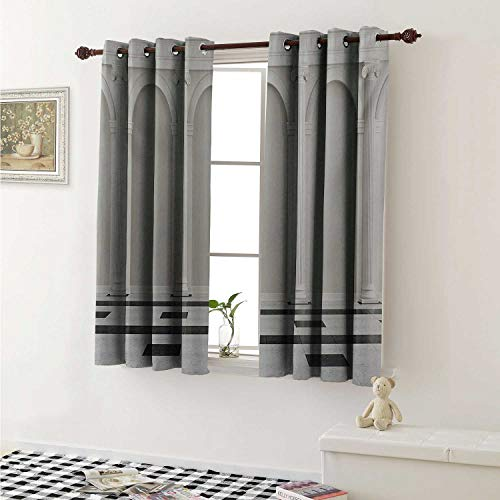 - shenglv Pillar Blackout Draperies for Bedroom Antique Theme Classical Interior with Ionic Column Marble Floor Digital Image Curtains Kitchen Valance W72 x L63 Inch Black and White