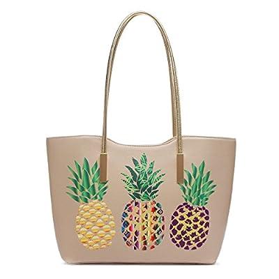 Large Top Handle Three Multi Color Pineapple Print Tote Bag