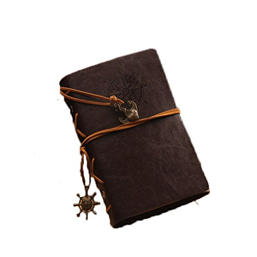 ALMF Retro Pirate PU Leather Refillable Notepad Loose Leaf Notebook Unique Travel Diary,7.2x5.3 inches,Dark brown