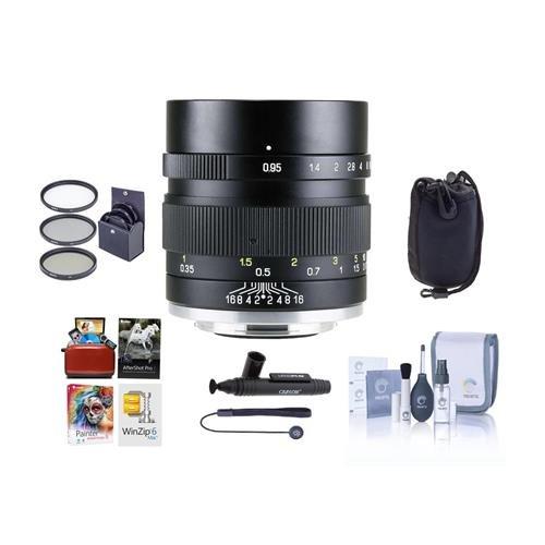 Mitakon 35 mm f / 0.95 Zhongyi Speedmaster Mark IIレンズfor Canon eos-mミラーレスカメラブラック – Bundle with 55 mm Fliterキット、レンズポーチ、クリーニングキット、Capleash、Mac SoftwarePackage , and More   B0786SFRPJ