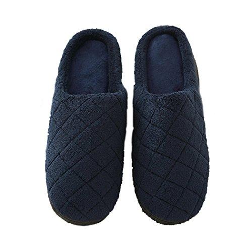 Slip Op Huis Slippers Voor Mannen, Comfortbale Memory Foam Antislip Herfst Winter Flip Flop Indoor Schoenen Marine Blauw