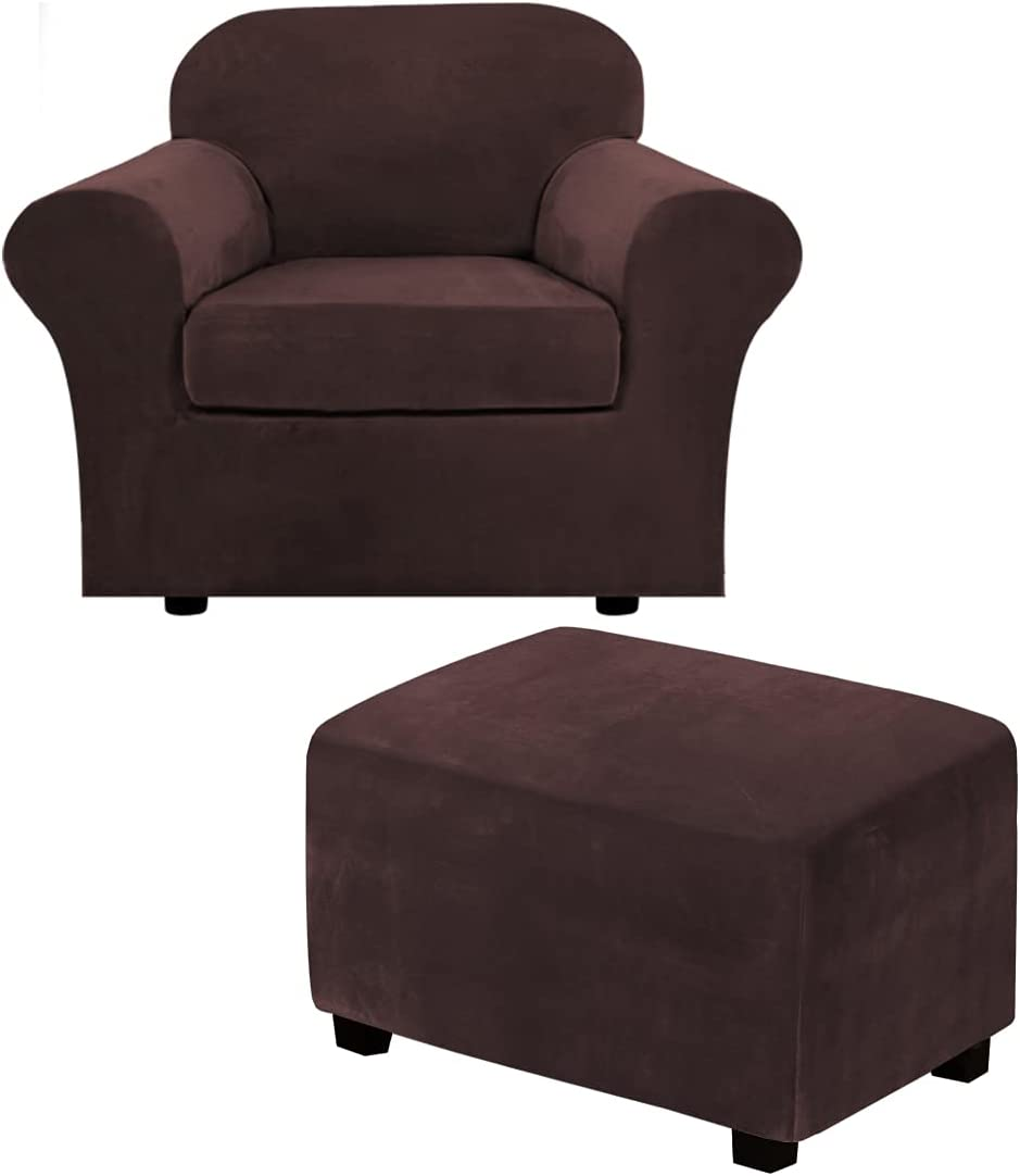2 Piece Chair Cover Chair Slipcover Bundles X-Large Size Velvet Plush Ottoman Slipcovers(X-Large, Brown)