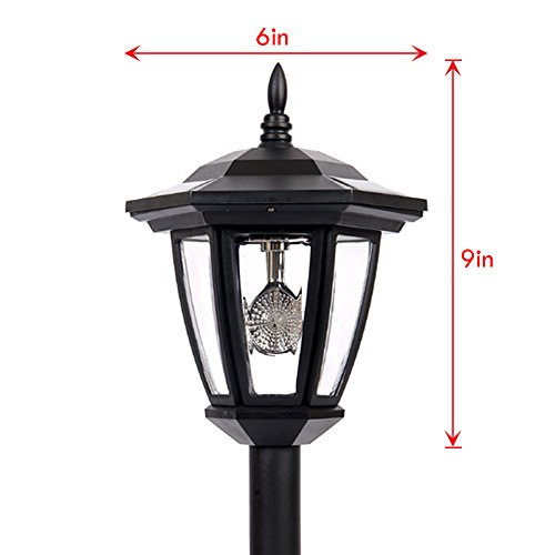 Hexagon Solar Light (iGlow 1 Outdoor Garden 3-LED Bright White Vintage Antique Hexagon Solar Landscape Path Lantern Lights Stake Lamp Post)