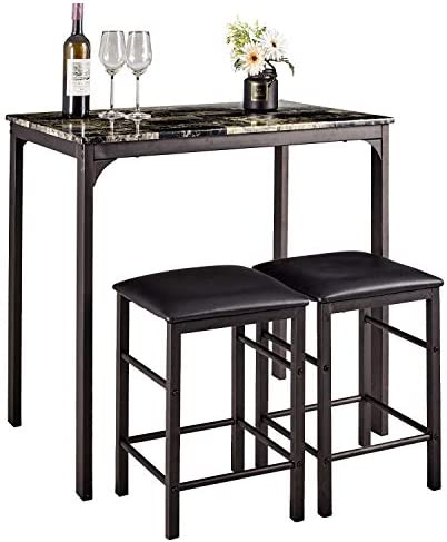AMERLIFE Dining Set for 2 Marble Look Wooden Dining Table Set 3 Piece Pub Table Set Wood Counter Height Rectangular Breakfast Dining Table with 2 Chairs Kitchen Bar Furniture, Black