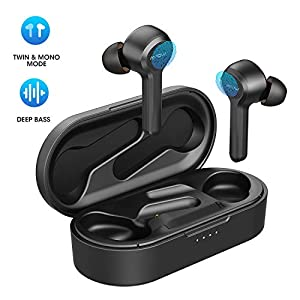 Wireless Earbuds, Mpow M9 Bluetooth Earbuds w/USB-C Charging Case/Punchy Bass/IPX7 Waterproof Bluetooth Earphones 5.0/30 Hrs Playtime/Touch Control/Noise Cancellation Mics, for Cellphones/PC, Workout,etc