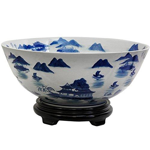 Oriental Furniture 14'' Landscape Blue & White Porcelain Bowl by ORIENTAL FURNITURE (Image #1)