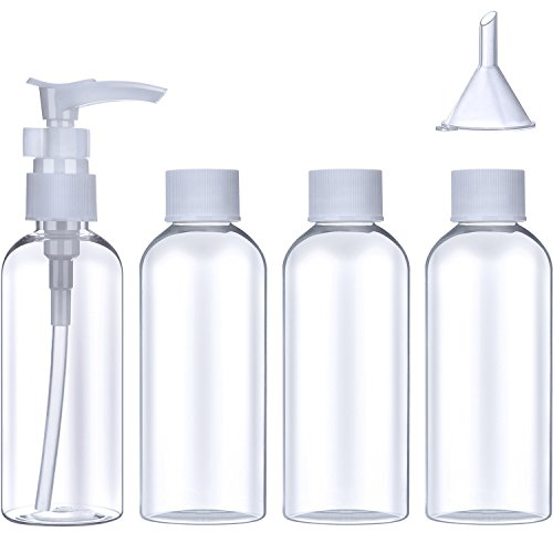 Sumind 5 Pieces Travel Bottles Set Toiletries Cosmetic Liquid Containers with Storage Bag (80 ml)