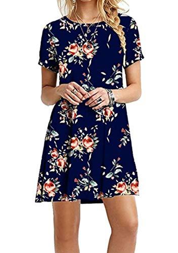 YMING Womens Plus Size Summer Dress Short Sleeve Casual Dress Short Sleeve Short Dress Blue Flower XS