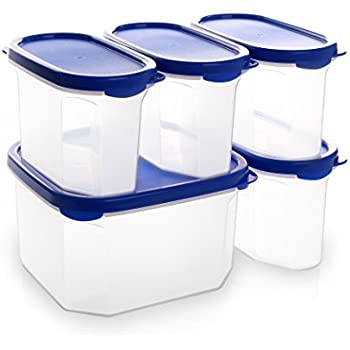 bino 10piece airtight stackable kitchen storage container pantry set blue