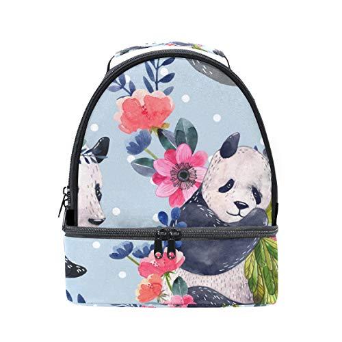 Alinlo aquarelle Panda avec imprimé floral Boîte à lunch Sac isotherme Cooler Tote avec bandoulière réglable pour Pincnic à l'école