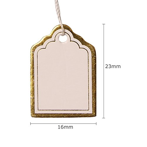 H88 1000 Pcs Gold Price Tag Retail Label Tie String Jewelry Watch Display # 6001372