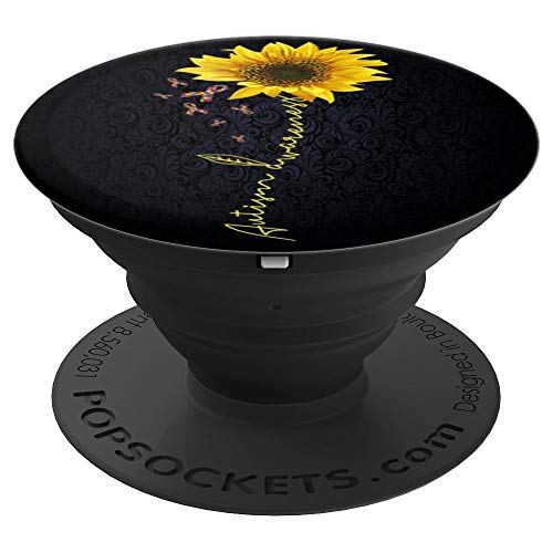 (autism sunflower - autism awareness gift - PopSockets Grip and Stand for Phones and Tablets)