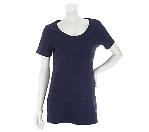 Liz Claiborne Short SLV Conservative Striped Lace Knit Tunic Navy M New A233521 Liz Claiborne Woman Blouse