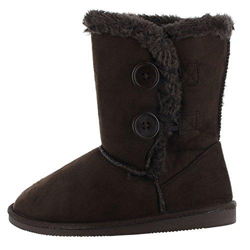 Dealstock Botas De Piel Para Mujer Gamuza De Media Pantorrilla Invierno Nieve Zapatos De Piel De Oveja De Gamuza Sintética Marrón