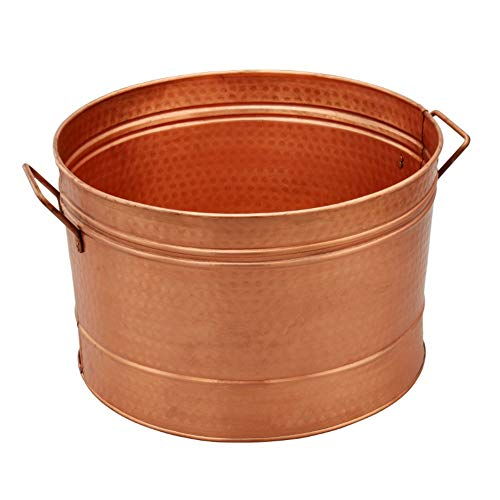 Benzara HGM008 Hammered Pattern Galvanized Farmhouse Style Tub, Copper