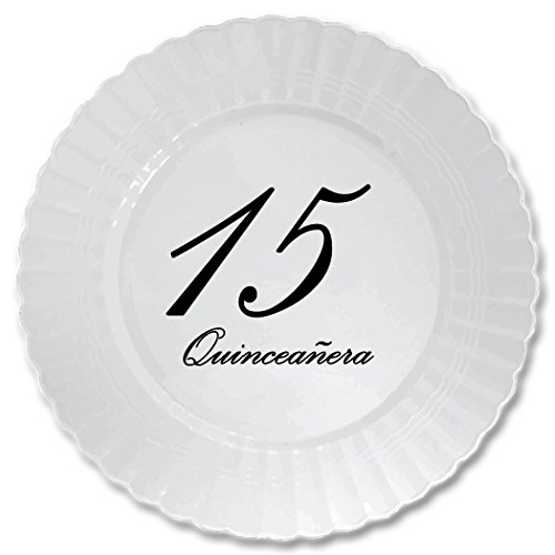 QUINCEANERA-CLASSY-BLACK-PLASTIC-DESSERT-PLATE-8-CT-by-Partypro