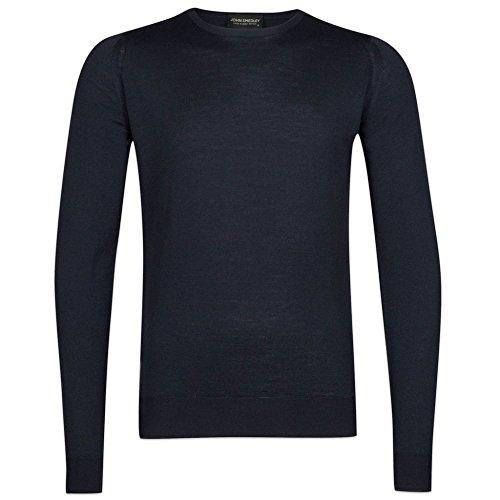 John Smedley Lundy Merino Wool Crew Neck Knitwear (Large, Midnight) by John Smedley