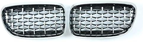 フォグライトグリル フロントグリルの腎臓グリルフィット感のためのBMW 3シリーズE90 E91スポーツダイヤモンドグリルフロントバンパー2005年から2011年バンパーグリル フォグライトフレーム (Color : All silver 08 11)
