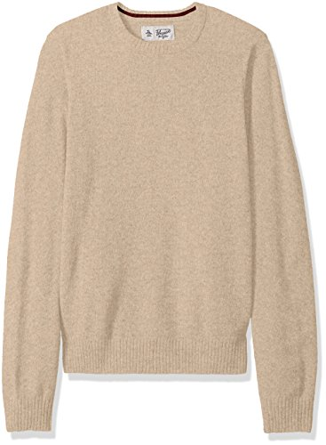 Original Penguin Men's Solid Lambswool Crew Sweater, Oatmeal, Medium