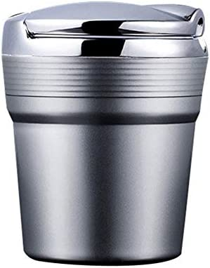 LIZIB ナポレックス 車用 灰皿 の灰皿LEDライトタバコ煙旅行リムーバー灰シリンダー車無煙煙カップホルダー自動車アクセサリー (Color Name : Silver)