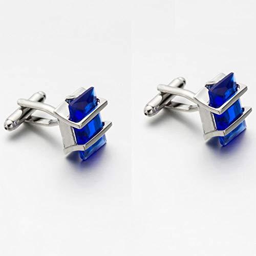 Da.Wa Elegant Blue Crystal Square Cuff Links Men's Business Wedding Shirt Cufflinks Accessories by Da.Wa (Image #2)