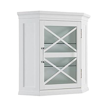 Amazon.com: Grayson Corner Cabinet with White Shutter Door ...