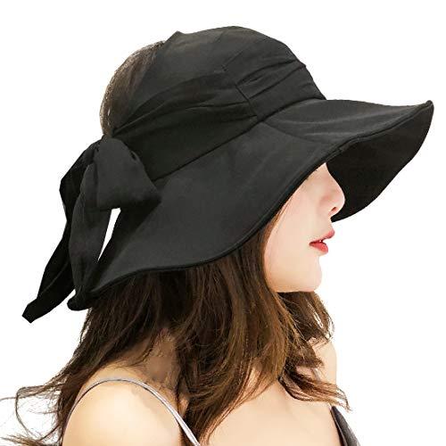 KRATARC Summer Cotton Sun Hat Visor Women Girls Fishing Cap Floppy Beach Sun Hat Cycling with Ponytail Bowknot (Black) ()
