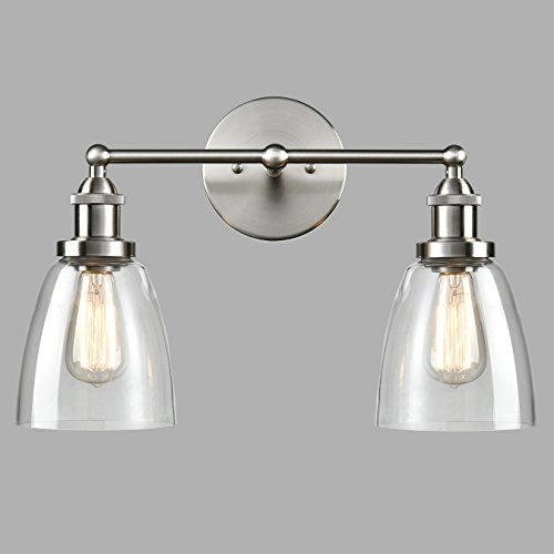 YOBO Lighting Brushed Nickel Industrial 2-light Glass Wall Sconces - Nickel Sconce Two Light