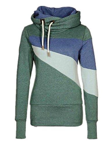 Invernale Hoodies Plus Manica Sweatshirt Cappuccio Caldo Donna Streetwear Pullover Tayaho Felpa Cashmere Lunga Con Patchwork Autunno Felpe Classico Green 0EO7wawIq