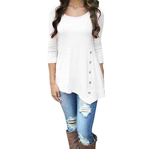 Nec 2 Button (Franterd Women Loose Side Button Irregular Trim Blouse Long Sleeve Solid Color Round Neck Tunic T-Shirt(S-6XL) (White, M))