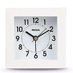 WYMBS Creative clocks 3d minimalist modern bed alarm table square wooden block, Jong-jong-home living room bedroom study small alarm ,white