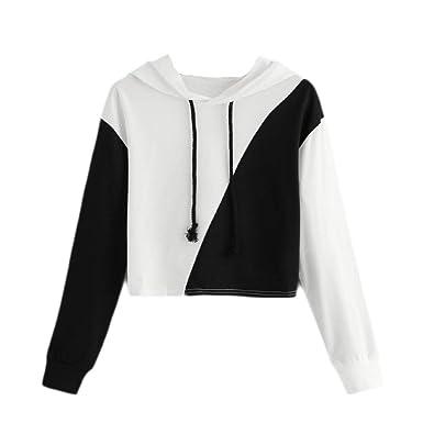 Ulanda Women Hoodie Jumper Patchwork Long Sleeve Sweatshirt Hooded Pullover Top