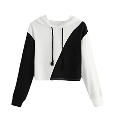 Duseedik Fashion Women Hoodie Jumper Patchwork Long Sleeve Sweatshirt Hooded Pullover Top