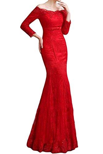 La Promkleider Damen Rot Marie Langes Meerjungfrau Abendkleider Spitze Braut Abschlussballkleider C7drBwqyC