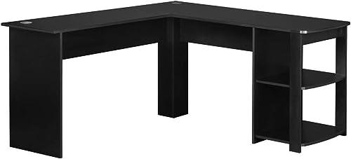 L-Shaped Home Office Corner Desk Wood Top Modern Laptop Study Table Workstation Gaming Writing Desk Black
