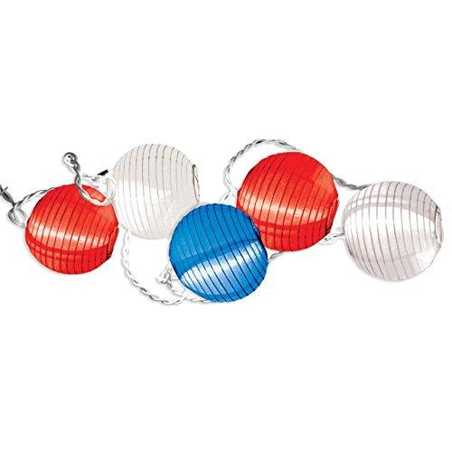 Grasslands Road Red White Blue Round Lantern Patio 10 Light Set, 9-Foot